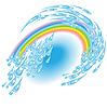 夏雨捻与彩虹 | 向量插图