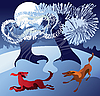 ID 3063255 | Hunde spielen im Schnee | Stock Vektorgrafik | CLIPARTO