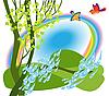 Regenbogen über der Wiese