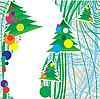 圣诞贺卡与杉木树 | 向量插图
