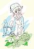 女人切蔬菜 | 向量插图