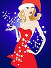 glamouröses Mädchen im roten Kleid