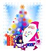 圣诞老人和圣诞树 | 向量插图