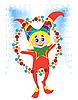 Frohe Weihnachten Clown auf dem Jahrmarkt
