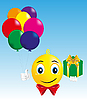 Мальчик-смайлик с подарком и воздышными шариками | Векторный клипарт