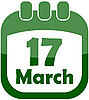 3月17日日历天 | 向量插图