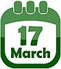 Tag 17. März in einem Kalender | Stock Vektrografik