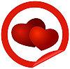 Runder Aufkleber mit Herzen | Stock Vektrografik