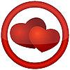 Rundes Zeichen mit Herzen | Stock Vektrografik