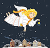 圣诞天使的女孩在夜间镇 | 向量插图
