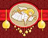 Weihnachtskarte mit Engel und goldenen Glocken