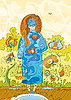 ID 3118001 | Blumen-Mädchen mit einem Käfig | Stock Vektorgrafik | CLIPARTO