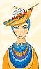 Девушка в шляпе в виде корабля | Иллюстрация