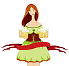 Векторный клипарт: Октоберфест - девушка с пивом