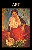 Картина с сидящей девушкой в красном платье | Векторный клипарт