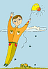 男孩气球飞行 | 向量插图