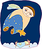 schlafender Junge fliegt im Schlaf