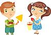 Векторный клипарт: мальчик-строитель и девочка-художник