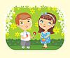Девочка и мальчик с цветочком | Векторный клипарт
