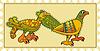 Briefmarke mit keltischen ornamentalen Vögeln