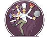 tanzender Koch mit vielen Händen
