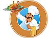 Jolly cook z pieczonym kurczakiem | Stock Vector Graphics