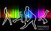 Silhouetten der tanzenden Menschen