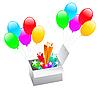 Farbe Luftballons mit Geschenk