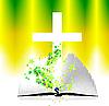 offene Bibel und Kreuz