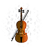 Cello, Violoncello auf Musiknote Hintergrund