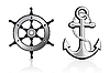 Vector clipart: Anchor and Steering Wheel