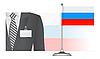 Ein russischer Diplomat auf dem Hintergrund der Flagge