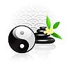 Feng Shui Hintergrund mit Yin Yang Symbol