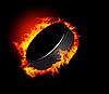 Eishockey-Puck im Feuer