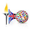 Britische Flagge mit Fackel