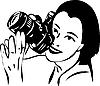 Девушка с фотокамерой в руках | Векторный клипарт