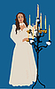 Девушка в белом платье рядом с подсвечником | Векторный клипарт