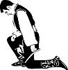 Мужчина стоит на коленях склонив голову | Векторный клипарт