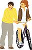 Мальчик учит девушку кататься на велосипеде | Векторный клипарт