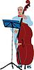 Музыкант в синем костюме играет на виолончели | Векторный клипарт