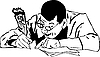 Человек в очках пишет пером | Векторный клипарт