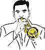 Векторный клипарт: музыкант, играющий на трубе
