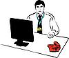 Мужчина с бейджом сидит в офисе за столом | Векторный клипарт