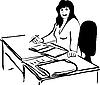 Женщина работает с бумагами за столом | Векторный клипарт