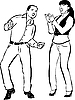 Junge und ein Mädchen singen und tanzen zusammen