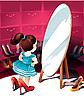 Маленькая девочка у зеркала примеряет туфли | Векторный клипарт