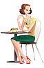 hübsche junge Frau trinkt Tee an einem Tisch in a