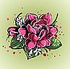 kleiner bunter Strauß von Rosen und Schneeglöckchen