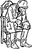 Hombre con botas sentado y durmiendo en la silla | Ilustración vectorial