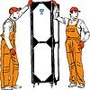 zwei Hafenarbeiter in orange Kombinationen halten box
